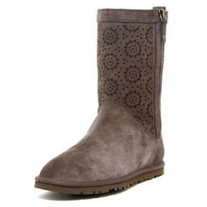 UGG perforated brown suede boots